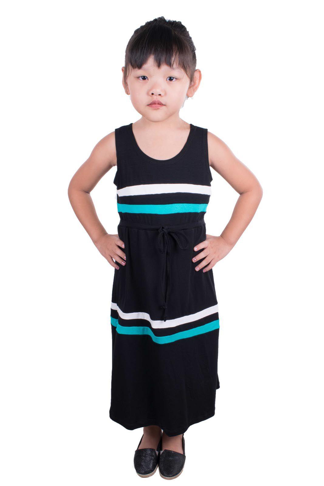 Vestido Outlet Dri Infantil Detalhe 3 Cores Listras Tiras Amarrar Preto