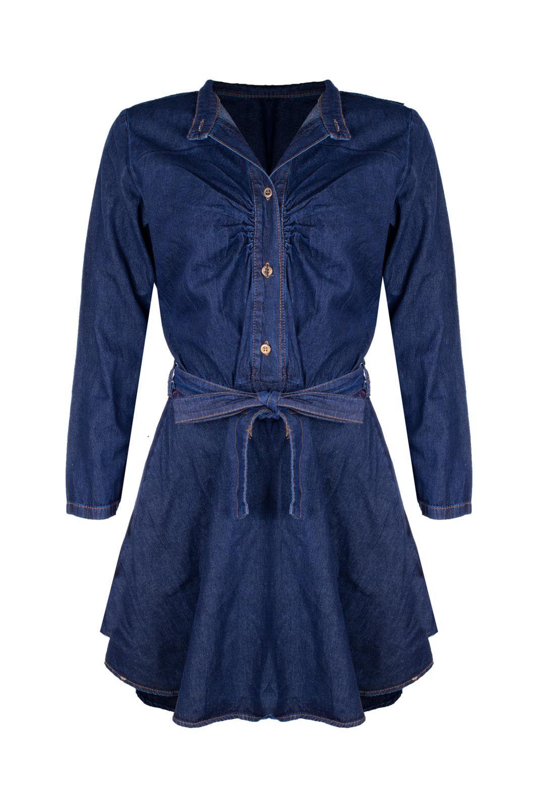 Vestido Outlet Dri Jeans Manga Longa Rodado Gola Padre 4 Botões Frontal Índigo