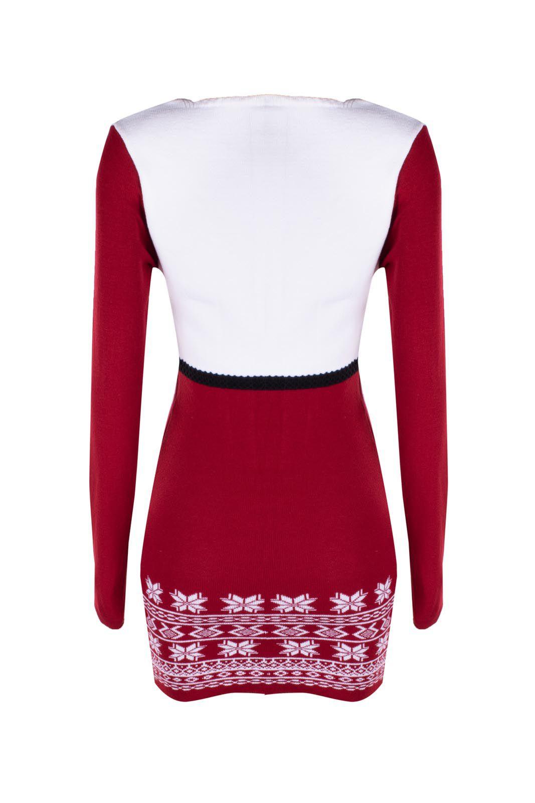Vestido Outlet Dri Manga Longa Justa Tricot Acrilico Decote Em V Branco Detalhe Vermelho