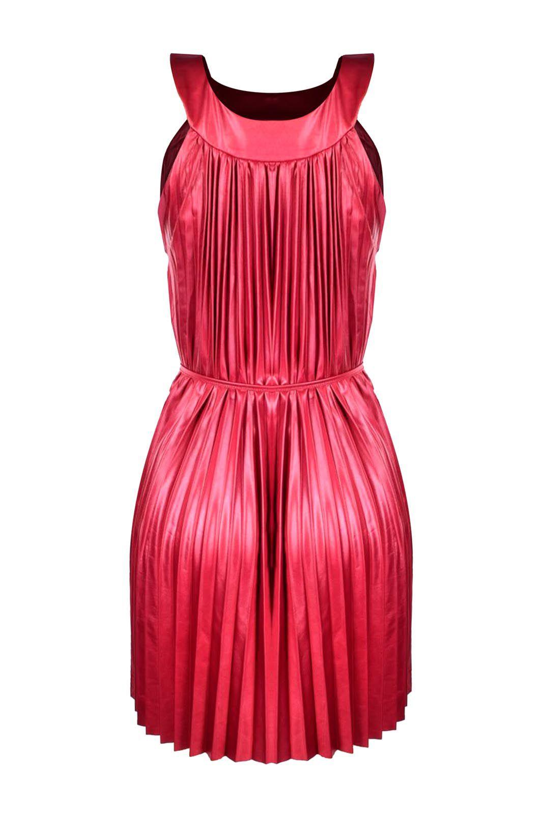 Vestido Outlet Dri Plissado Forrado Alcinha Gola Fechada Tiras Cintura Vermelho