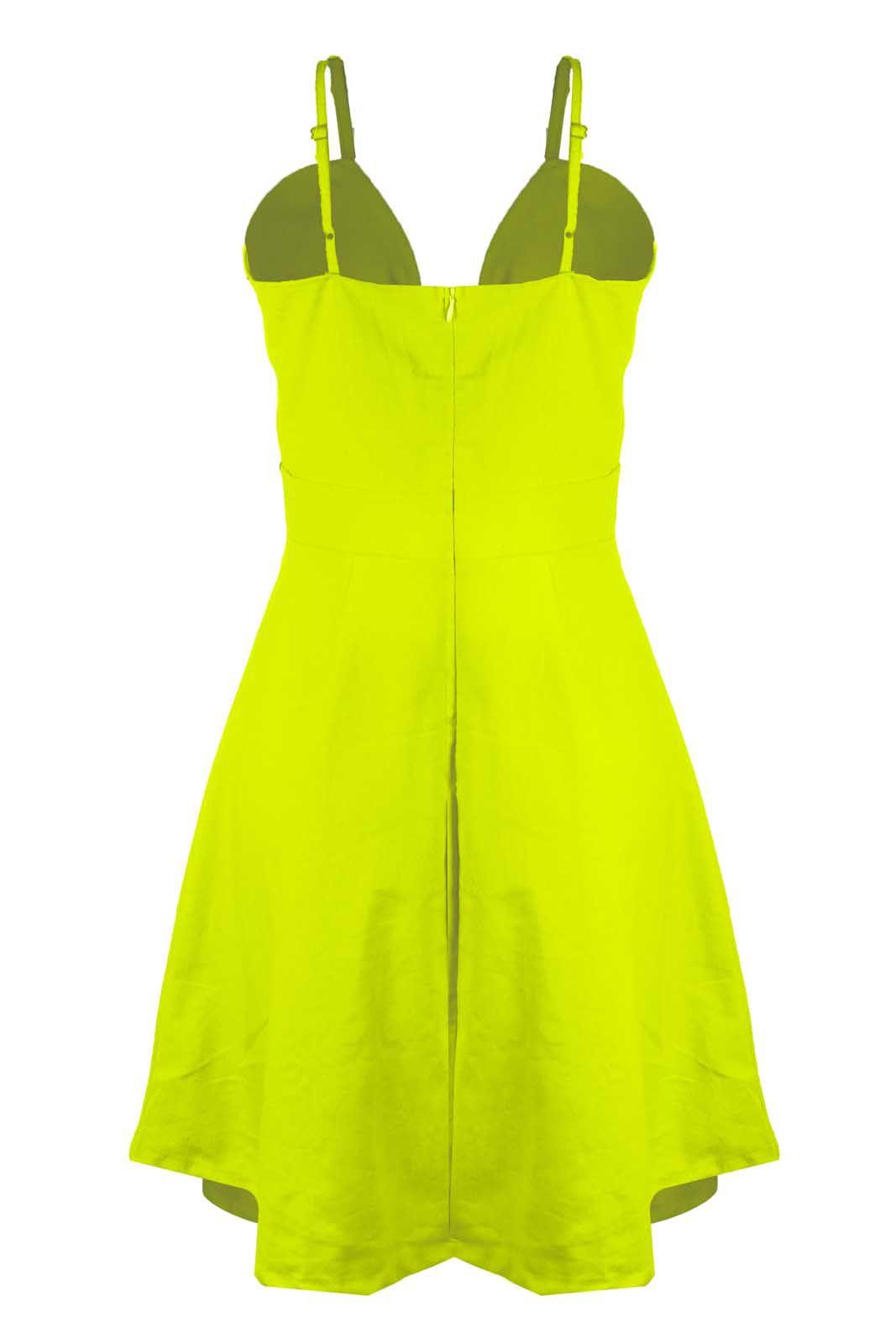 Vestido Outlet Dri Rodado Linho Botões Frontais Cores Primavera Verão Amarelo