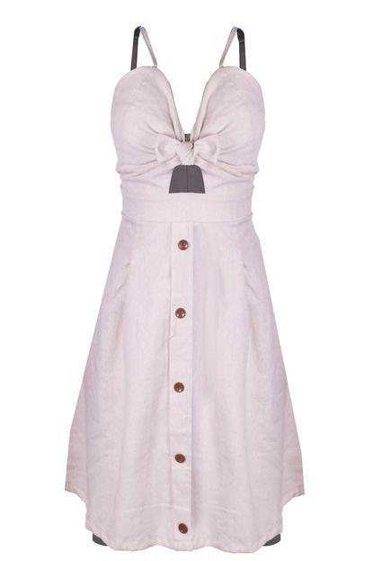 Vestido Outlet Dri Rodado Linho Botões Frontais Cores Primavera Verão Areia