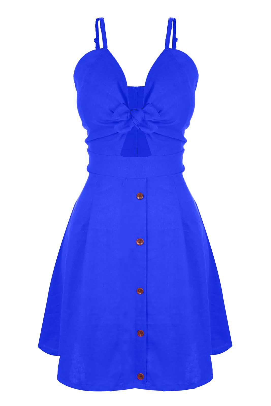 Vestido Outlet Dri Rodado Linho Botões Frontais Cores Primavera Verão Azul