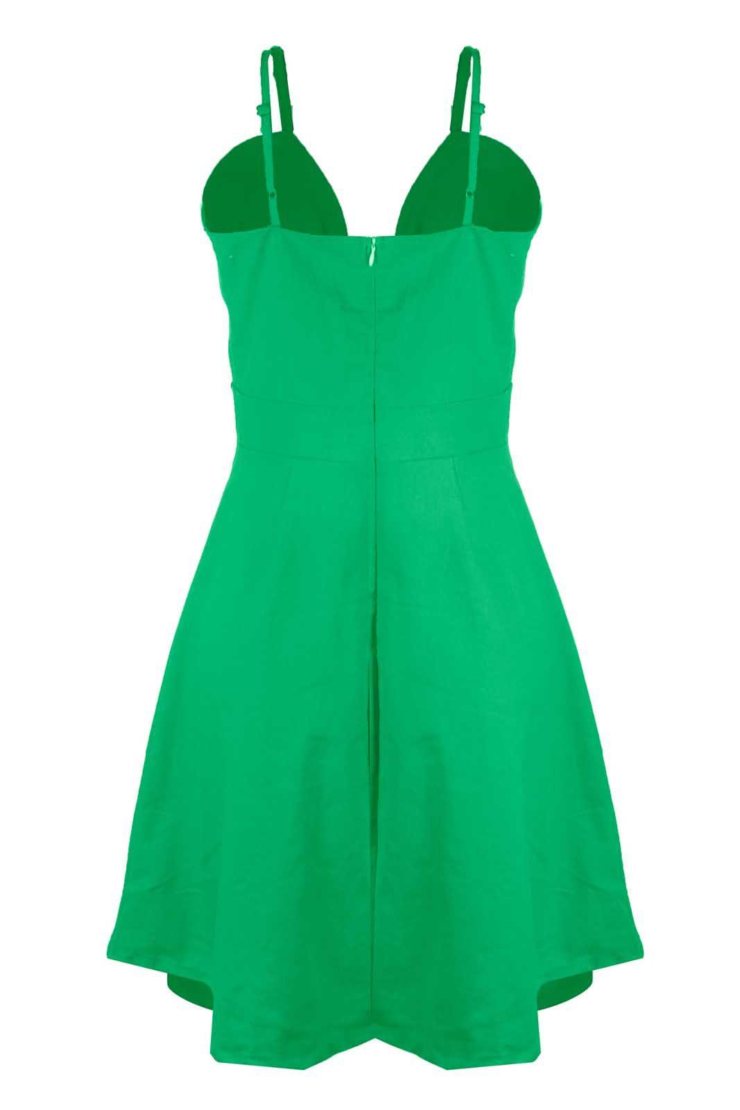 Vestido Outlet Dri Rodado Linho Botões Frontais Cores Primavera Verão Verde