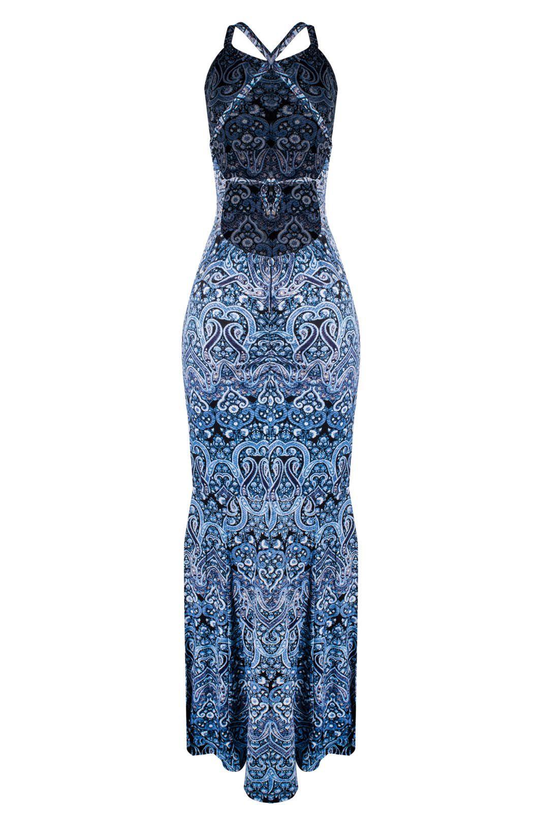 Vestido OutletDri Alcinha Tirinhas Cruzadas Sereia Drappeado Costas Azul Aço Com Branco