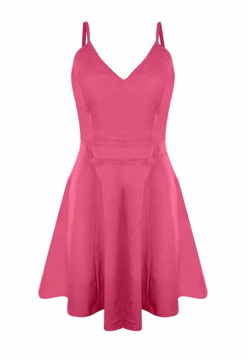 Vestido OutletDri Bengaline Alcinha Rodado Detalhe Tiras Laterais Pink