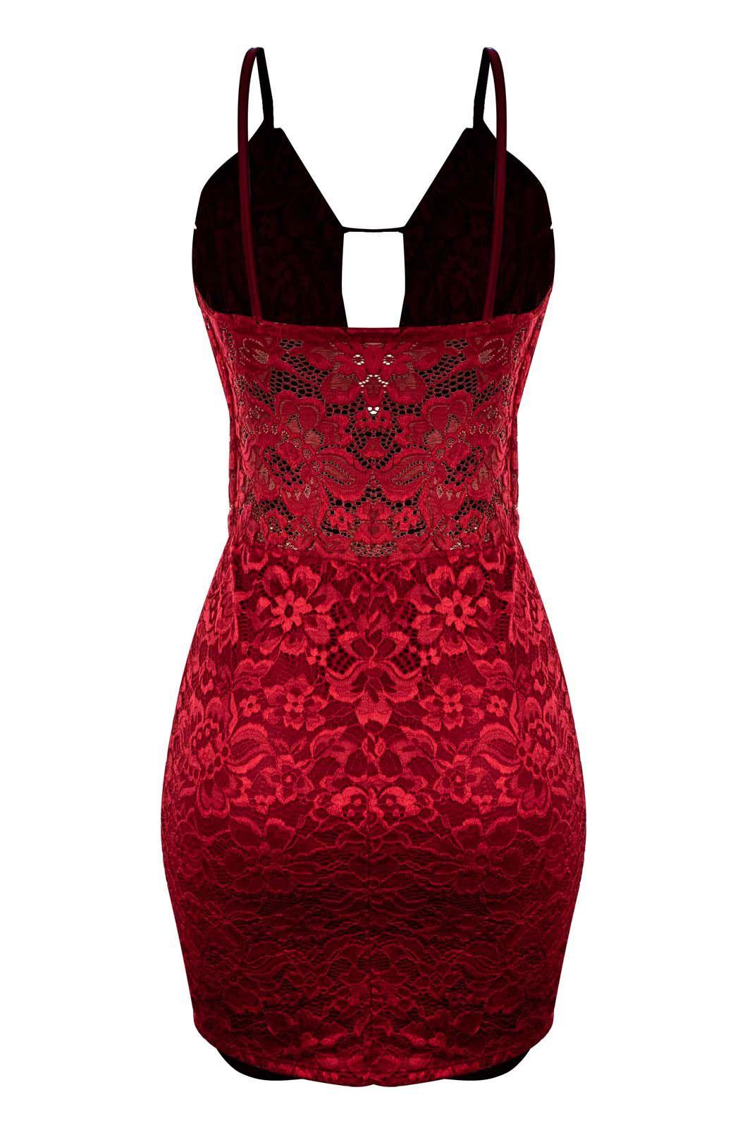 Vestido OutletDri Casual Curto Festa Renda Rendada Alcinha Fina Decote Tiras Vermelho