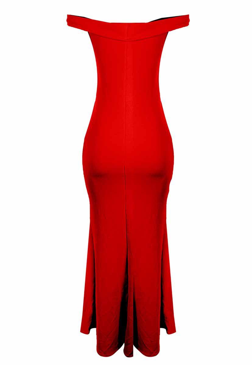 Vestido OutletDri Crepe Cigana Festa Detalhe X Enfeite Sereia Fenda Vermelho
