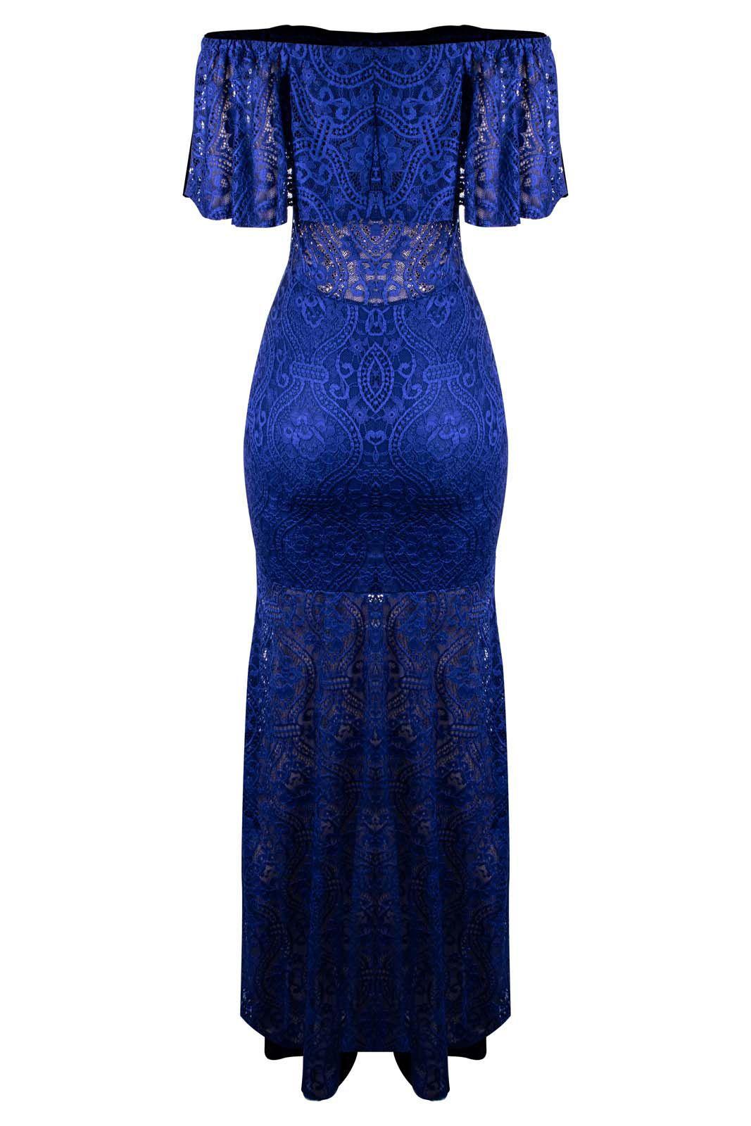 Vestido OutletDri Longo Renda Cigana Ciganinha Babado Fenda Lateral Azul