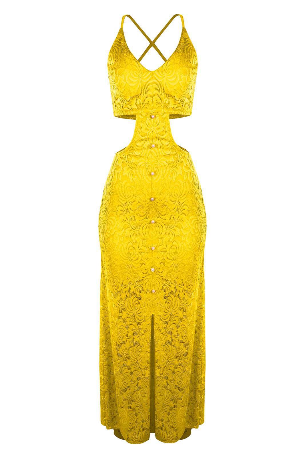 Vestido OutletDri Longo Rendado Forrado Alcinha Fenda E Decote Lateral Amarelo