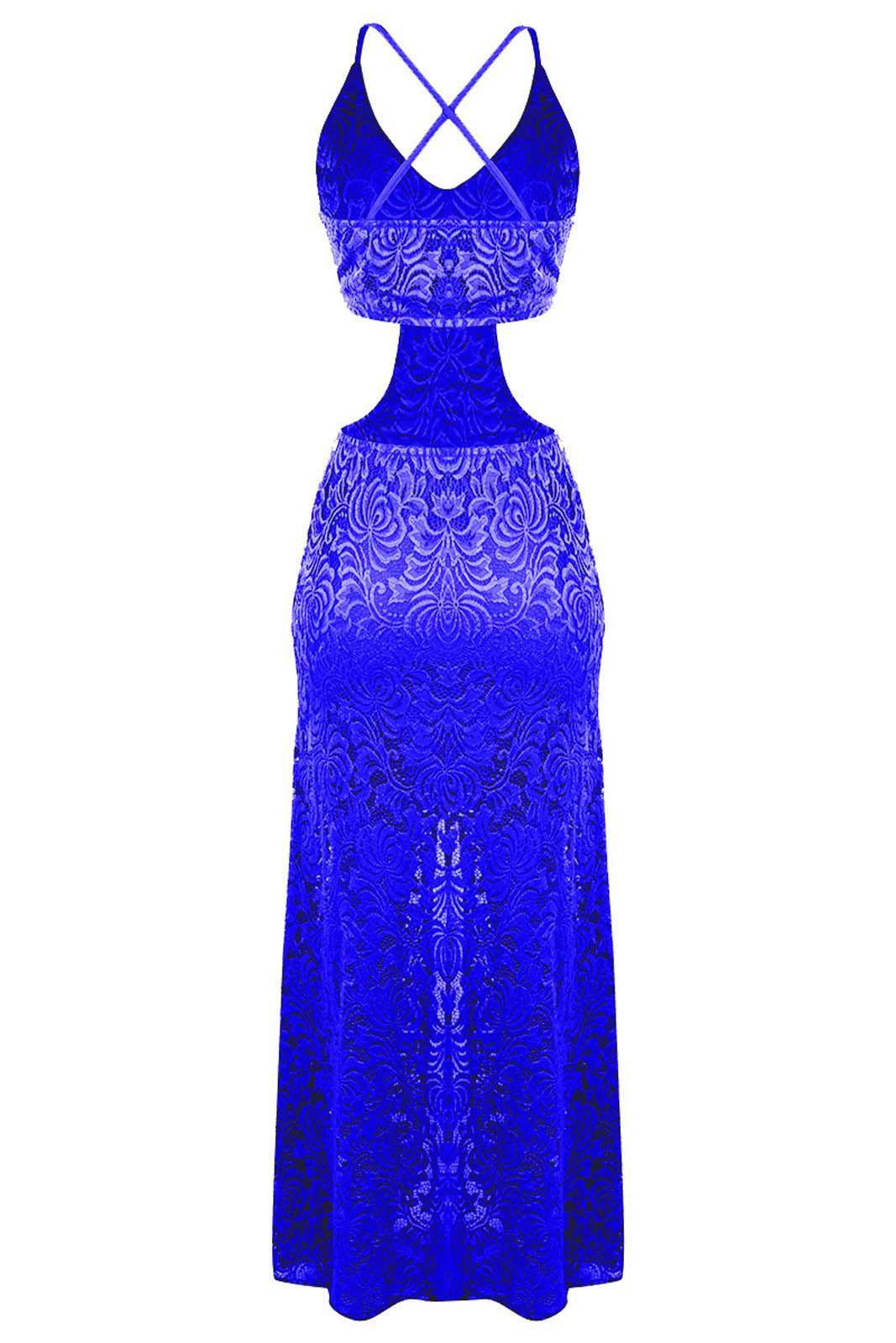 Vestido OutletDri Longo Rendado Forrado Alcinha Fenda E Decote Lateral Azul