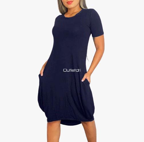 Vestido Plus Size Curto Saruel Maxi Amplo Mullet Com Bolso