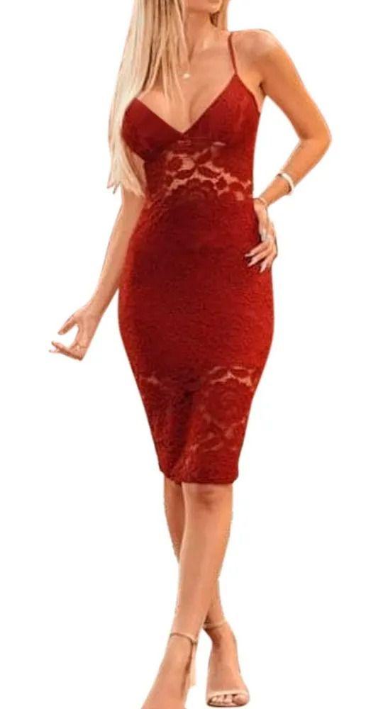 Vestido Tubinho Renda Alcinha Midi Detalhe Rendada Decotado vermelho