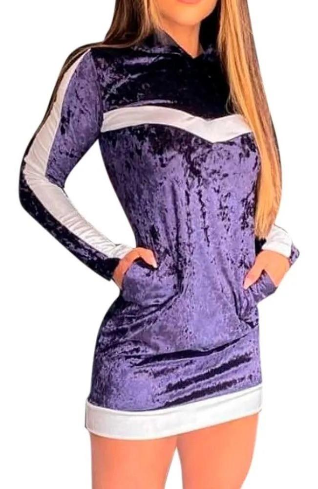 Vestido Veludo Molhado Curto Manga Longa Capuz Listras