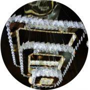 Lustre Pendente Cristal Led 3 Anéis Quadrados com Controle Remoto 7306