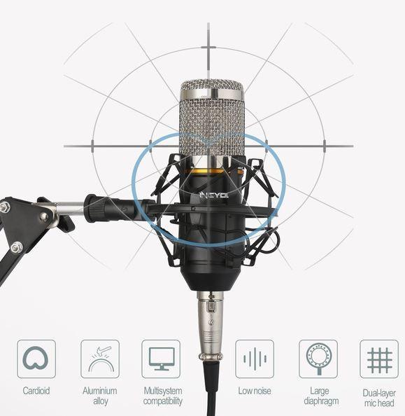 BM800 Microfone Condensador Profissional Pro Audio Studio Gravação De Som & Brocasting Arm Stand Pop Filtro