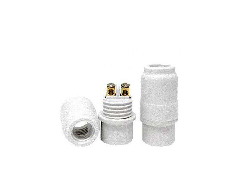 Bocal Soquete Pendente Lustre E14 Plástico Branco / Preto