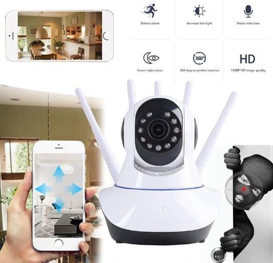 Câmera Ip 5 Antenas Wireless Wifi Hd P2P 360