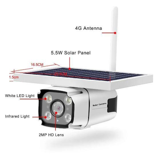 Câmera Vigilância com placa Solar Ip Wireless Wi-fi Full Hd 1080p