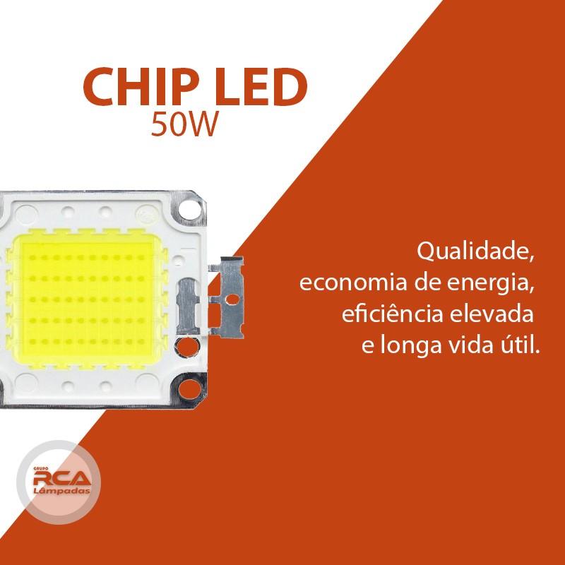 Chip de Led 50w Branco frio 6500k Para Refletor Superled