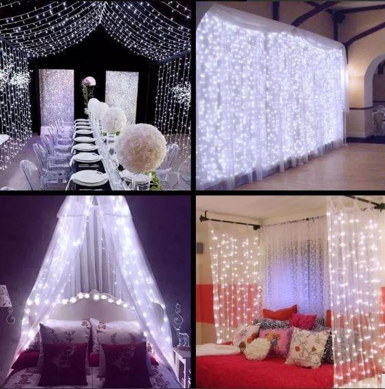 Cortina 900 Leds Fixa Branca Fria 4m X 3m 110v / 220v Casamentos Festa