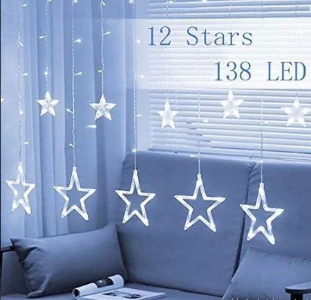 Cascata De Estrelas Led  Branca Fria 138 Leds