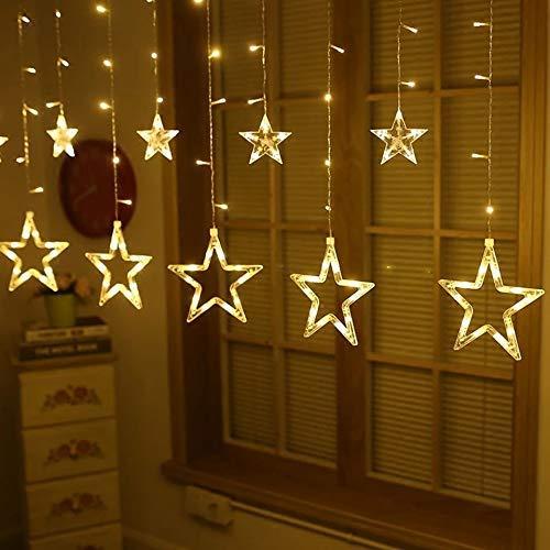 Cascata De Estrelas Led  Branca Quente 138 Leds