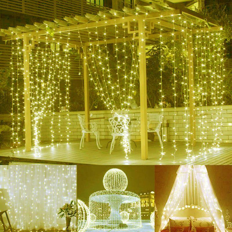 Cortina de Led Fixa 500 Leds 220v Luz fixa Branca Quente 3m X 3m