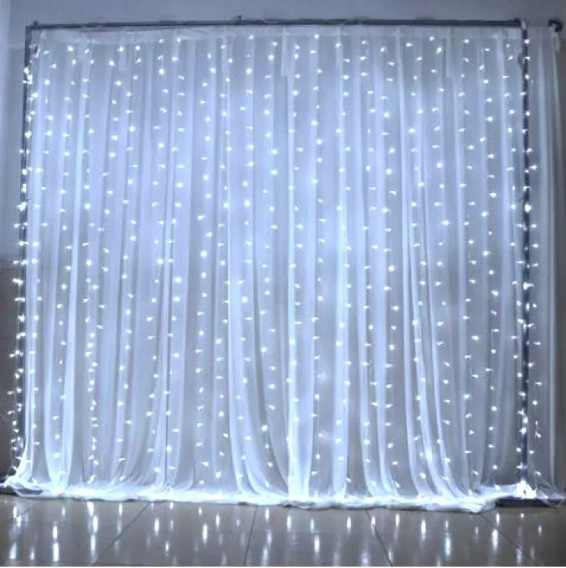 Cortina Led Fixa 500 Leds 110v Luz fixa branca fria 3m X 3m