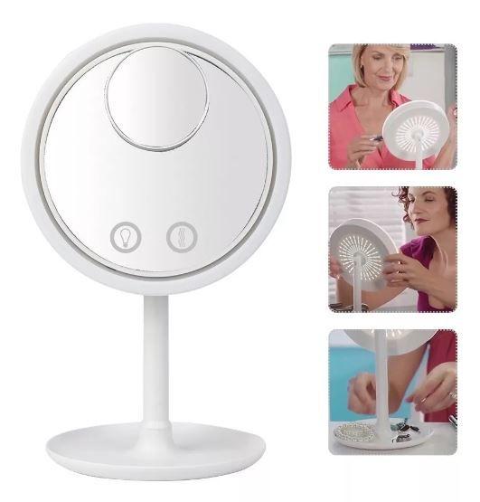 Espelho Maquiagem Led Ventilador Touch Screen Beleza Usb