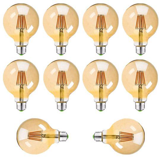 Kit 10 Lâmpadas Retrô Filamento Led Vintage G95 4w Quente Bivolt