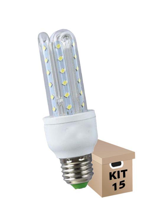 Kit 15 Lâmpadas de Led 3U 9w Milho Super Led