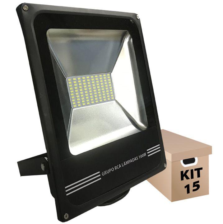 Kit 15 Refletores de Led 100w Led Cob smd 6500k