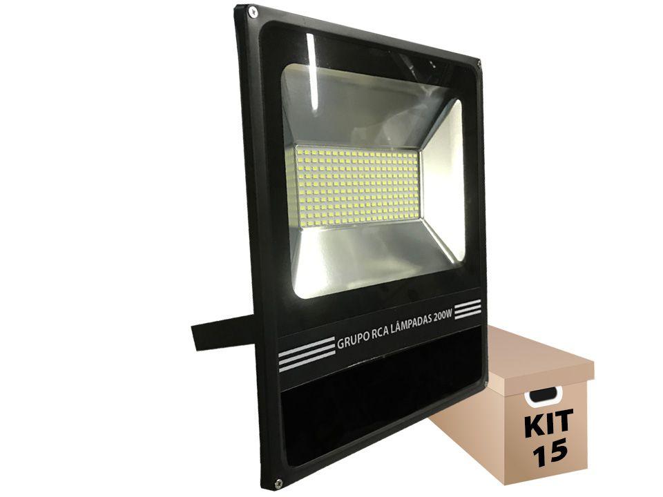 Kit 15 Refletores de Led holofote 200w Cob 6500k SMD Branco frio