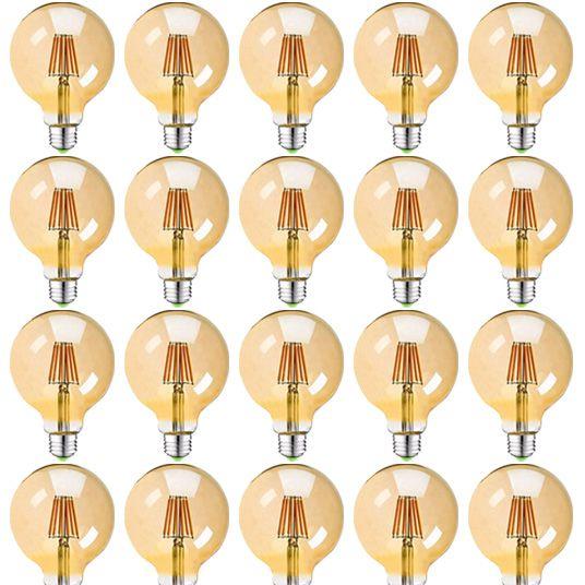 Kit 20 Lâmpadas Retrô Filamento Led Vintage G95 4w Quente Bivolt