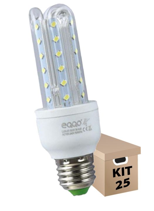Kit 25 Lâmpadas de Led 3U 7w Milho Super Led Branca