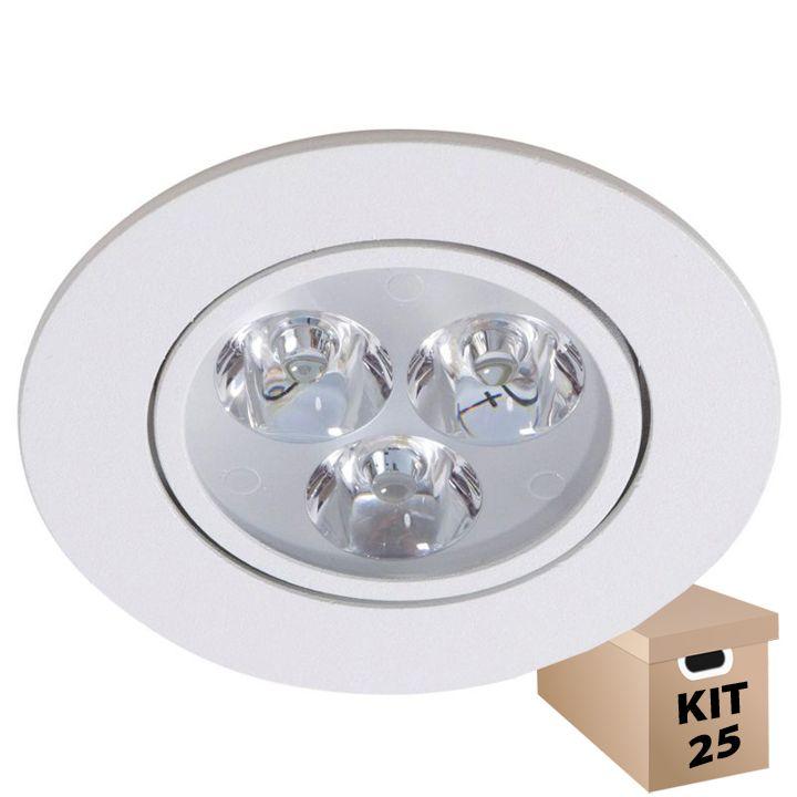 Kit 25 Luminárias de Teto Spot Super LED 3W Branco Frio Redonda Direcionável
