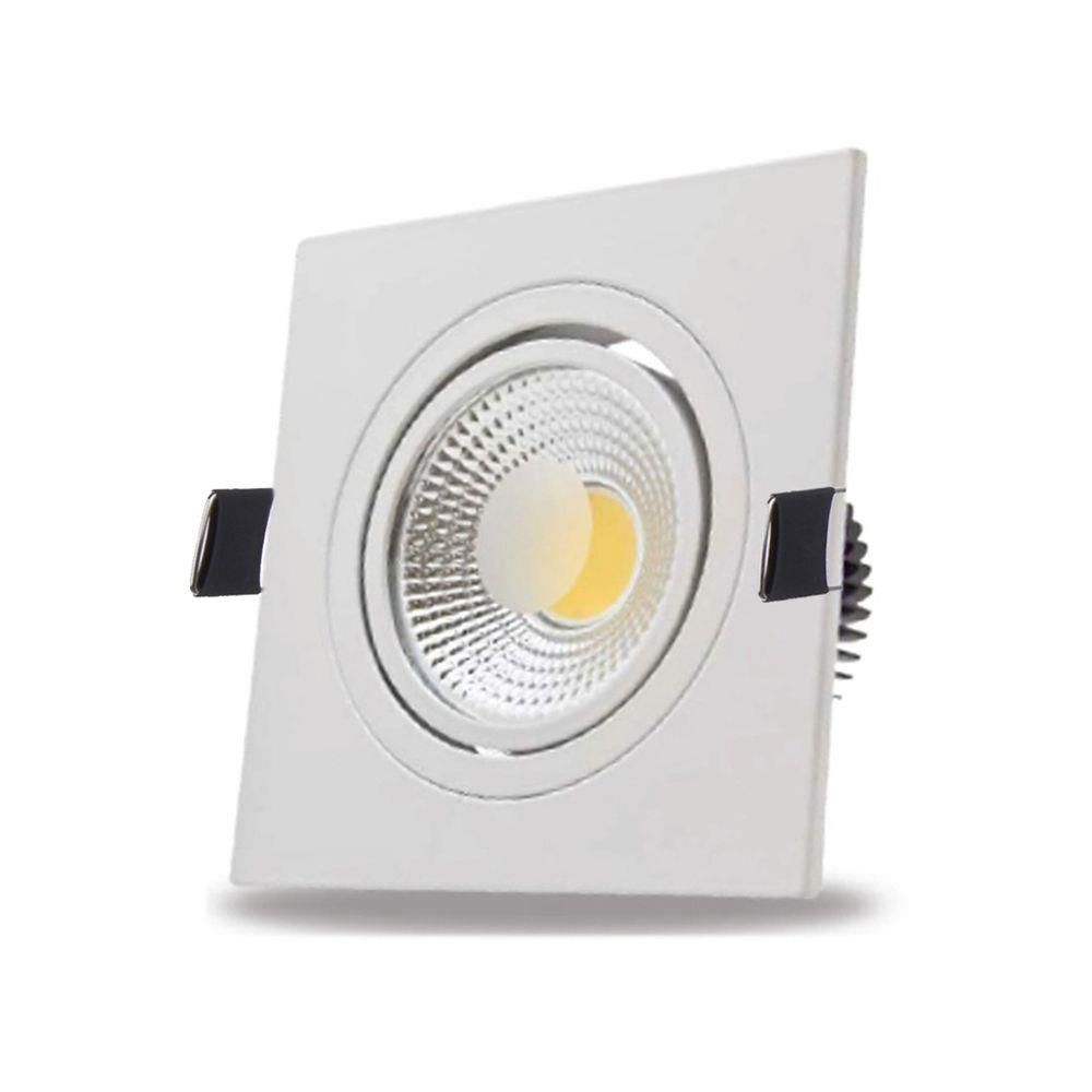 Kit 50 Spot LED Cob 7W Branco Frio Quadrado Embutir Direcionável Branco Frio