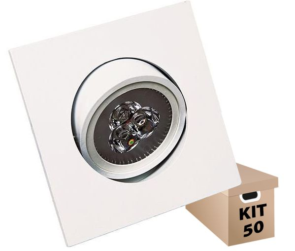 Kit 50 Spot Led de Embutir Quadrado 3W Bivolt 6500K - Luz Branca