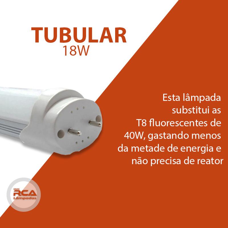 Kit 5 Lâmpadas Tubular de led T8 18w 120cm Policarbonato Branco Frio 6500k
