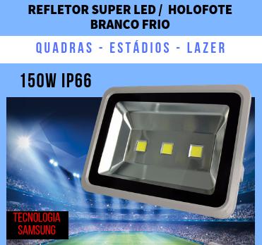 KIT 5 REFLETORES 150W SUPER LED HOLOFOTE BIVOLT BRANCO FRIO 3 CHIPS EGG YOLK  (TECNOLOGIA SAMSUNG)
