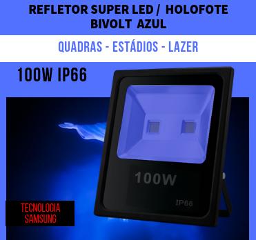KIT 6 REFLETORES 100W SUPER LED HOLOFOTE BIVOLT  AZUL