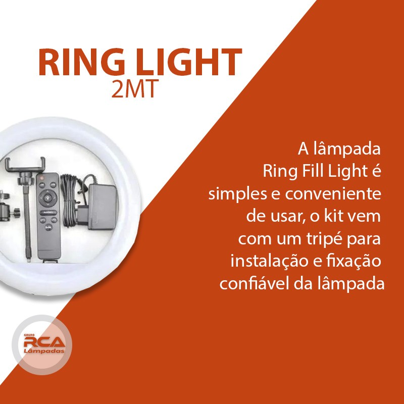 Kit Completo Iluminador Ring Fill Light 30cm com tripé 2mt Youtuber Selfie Pró 12''