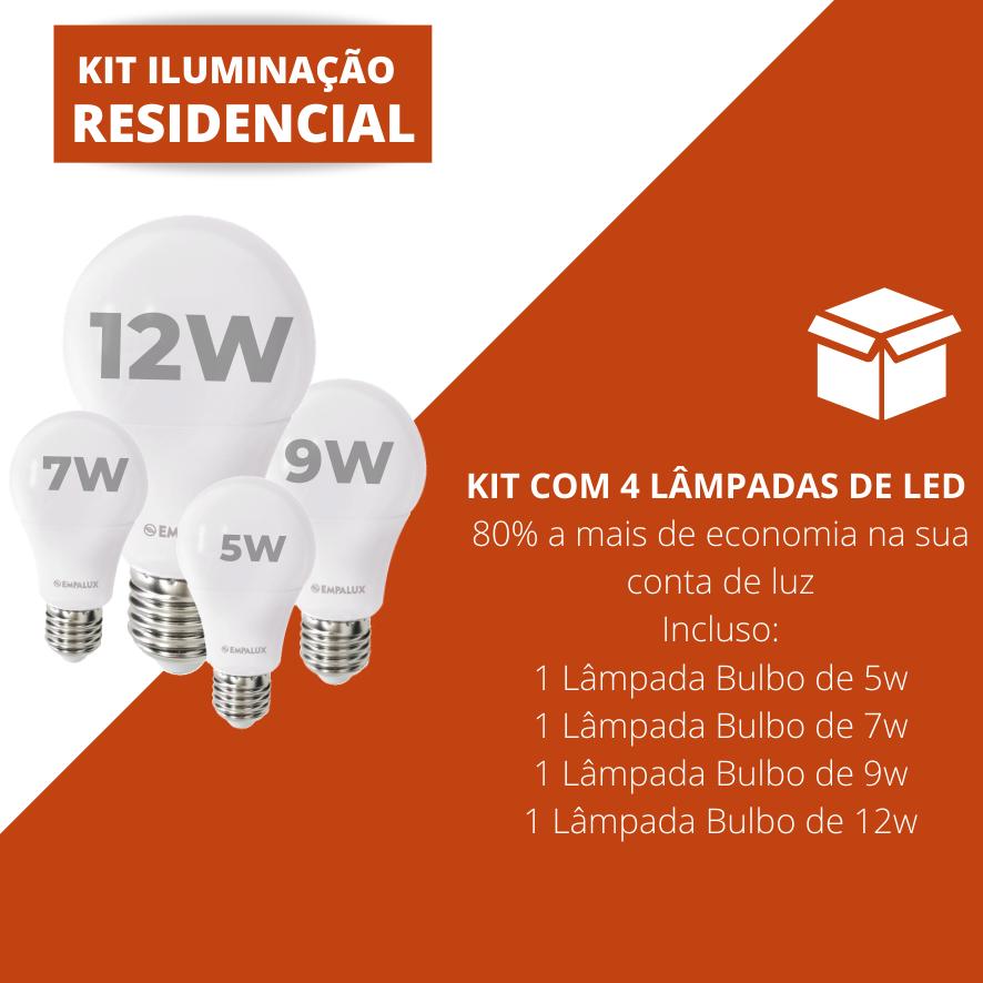 Kit Iluminação Residencial (Bulbo 5w - Bulbo 7w - Bulbo 9w - Bulbo 12w)