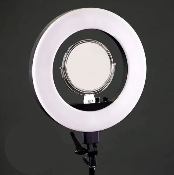 Kit Iluminador LED Ring Light 45cm de 18 polegadas com tripé 2mt Bicolor com espelho