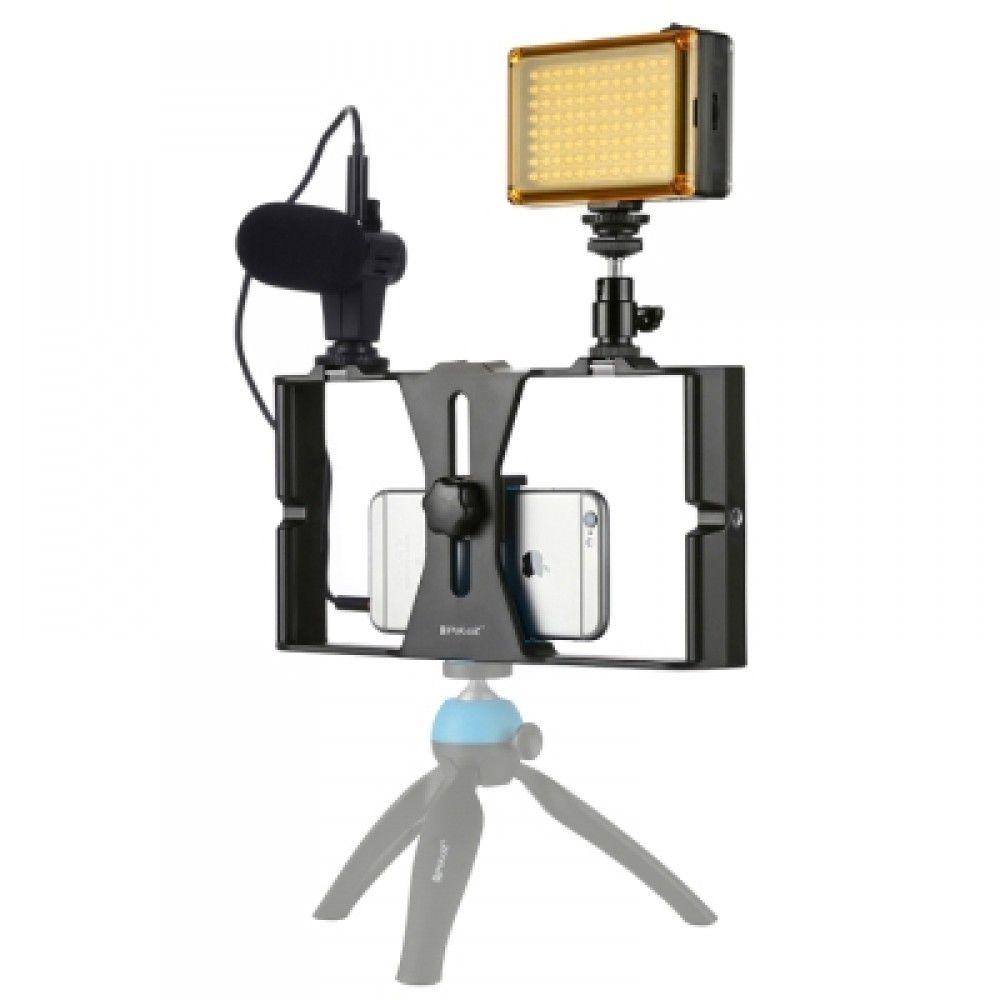 Kit Youtuber Estabilizador Celular Vlog Microfone Luz Tripé