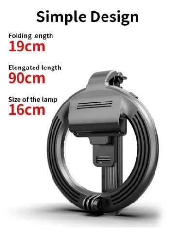 Ring light L07 Sem Fio Bluetooth Selfie Stick Dobrável Handheld Remoto