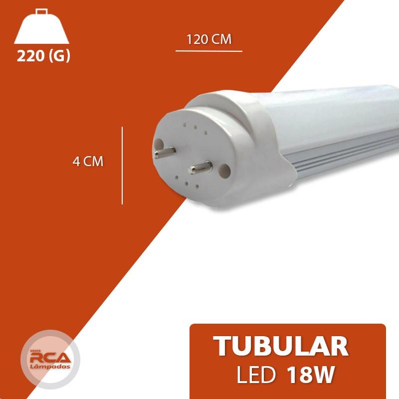 Lâmpada Tubular de Led T8 18w 120cm Vidro Branco Frio 6500k (INMETRO)