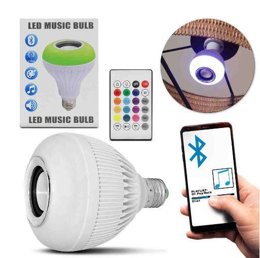 Lâmpada Bulbo LED Musical Caixa de Som Bluetooth 12W Android iOS Wireless Luminária Bivolt Controle RGB - Prime