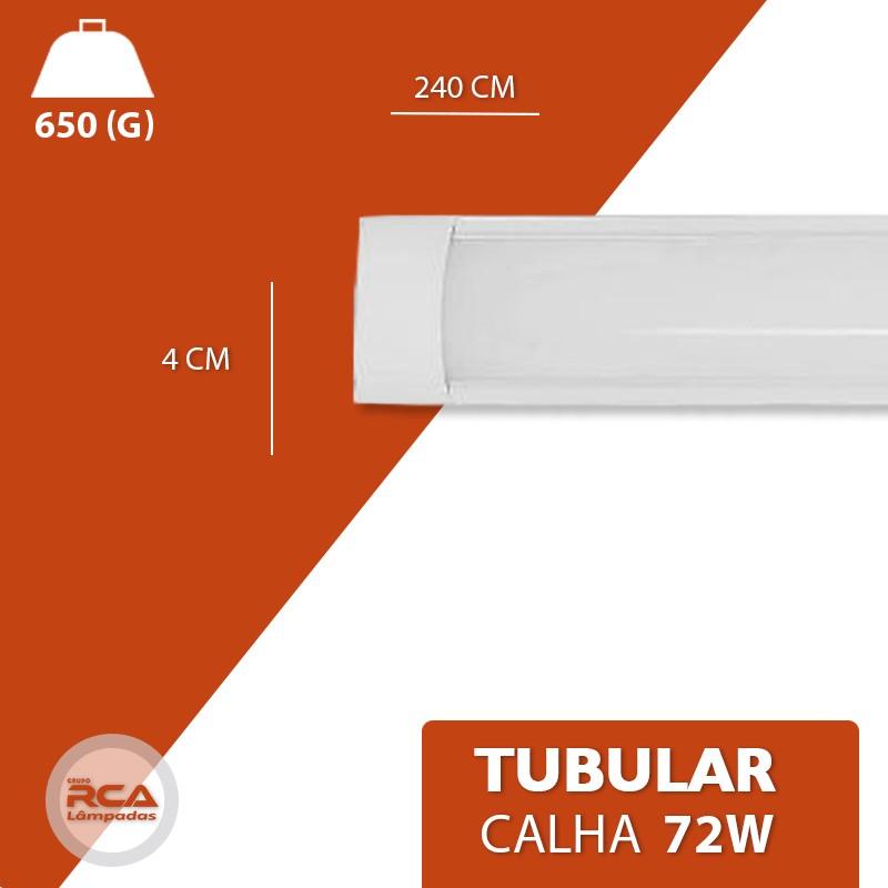 Lâmpada Led Linear com Calha 72w 240cm Slim Bivolt Leitosa